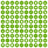 100 criminal offence icons hexagon green. 100 criminal offence icons set in green hexagon isolated vector illustration Stock Image