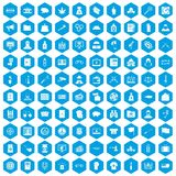 100 criminal offence icons set blue. 100 criminal offence icons set in blue hexagon isolated vector illustration vector illustration