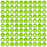 100 criminal offence icons set green circle. Isolated on white background vector illustration Stock Photo