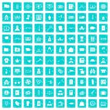 100 criminal offence icons set grunge blue. 100 criminal offence icons set in grunge style blue color isolated on white background vector illustration Royalty Free Stock Photo