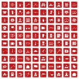 100 criminal offence icons set grunge red. 100 criminal offence icons set in grunge style red color isolated on white background vector illustration Royalty Free Stock Photos