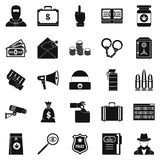 Criminal offence icons set, simple style. Criminal offence icons set. Simple set of 25 criminal offence vector icons for web isolated on white background Stock Photo