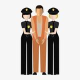 Criminal, offender and Police officer. Illustration, elements for design. Royalty Free Stock Images