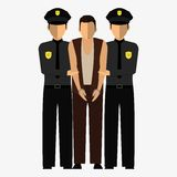 Criminal, offender and Police officer. Illustration, elements for design. Royalty Free Stock Photo