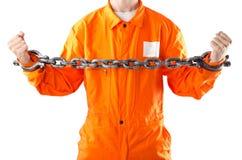 Criminal in orange robe in prison Royalty Free Stock Photography