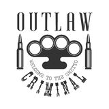 Criminal Outlaw Street Club Black And White Sign Design Template With Text, Brass Knuckles And Bullets Stock Photography