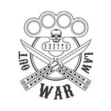 Criminal Outlaw Street Club Black And White Sign Design Template With Text, Brass Knuckles And Butterfly Knives. Monochrome Vector Emblem With Ghetto Symbols Stock Photography