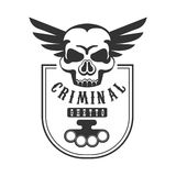 Criminal Outlaw Street Club Black And White Sign Design Template With Text, Brass Knuckles And Scull Stock Images