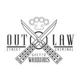 Criminal Outlaw Street Club Black And White Sign Design Template With Text, Crossed Butterfly Knives And Brass Knuckles Stock Photo