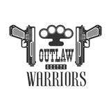 Criminal Outlaw Street Club Black And White Sign Design Template With Text, Guns And Brass Knuckles Stock Photo