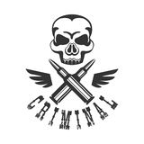 Criminal Outlaw Street Club Black And White Sign Design Template With Text , Wings And Scull Royalty Free Stock Photos