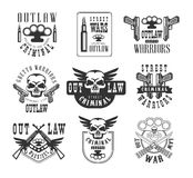 Criminal Outlaw Street Club Black And White Sign Design Templates With Text And Weapon Silhouettes Stock Photo