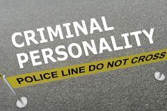 CRIMINAL PERSONALITY concept. 3D illustration of CRIMINAL PERSONALITY title on the ground in a police arena Stock Photo
