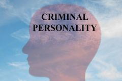 CRIMINAL PERSONALITY concept. Render illustration of CRIMINAL PERSONALITY title on head silhouette, with cloudy sky as a background Stock Image