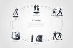 Criminal - pickpocketing, abducción, asesinato, helst del banco, robo, sistema del concepto del vector del robo ilustración del vector