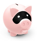 The criminal piggy bank. 3d generated picture of a criminal piggy bank Stock Image