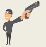 Criminal pointing a gun / Thief Stock Image
