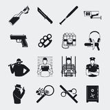 Criminal and prison icons Royalty Free Stock Images