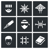 Criminal racial groups in prison icons set. Vector Illustration. Vector Isolated Flat Icons collection on a black background for design Royalty Free Stock Photo