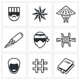 Criminal racial groups in prison icons set. Vector Illustration. Royalty Free Stock Image