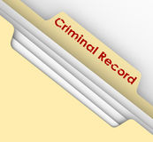 Criminal Record Manila Folder Crime Data Arrest File. Criminal Record words on a manila file folder tab to illustrate crime data and arrest infraction violation Royalty Free Stock Photography