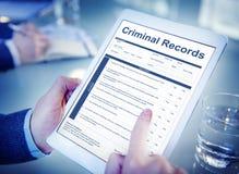 Criminal Records Insurance Form Graphic Concept Stock Photo