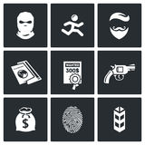 Criminal on the run and wanted icons set. Vector Illustration. Stock Photography