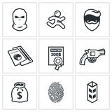 Criminal on the run and wanted icons set. Vector Illustration. Royalty Free Stock Images