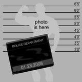 Criminal's mugshot. Criminal's mugshot, blank sign for your own text and photo vector illustration