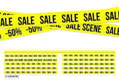 Criminal sale ribbons. Yellow criminal sale ribbons, nice and original for kill the prices Royalty Free Stock Image