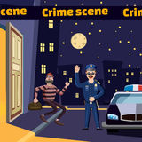 Criminal scene catch thief concept, cartoon style Royalty Free Stock Photo