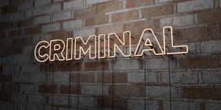 CRIMINAL - Señal de neón que brilla intensamente en la pared de la cantería - 3D rindió el ejemplo común libre de los derechos ilustración del vector