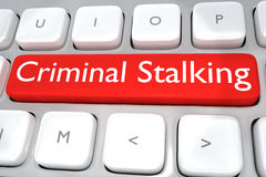 Criminal Stalking concept. 3D illustration of computer keyboard with the print Criminal Stalking on a red button. Cyber concept Stock Image