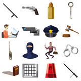 Criminal symbols icons set, cartoon style Royalty Free Stock Photo