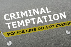 Criminal Temptation concept. 3D illustration of CRIMINAL TEMPTATION title on the ground in a police arena Stock Photography
