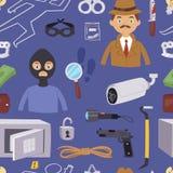 Criminal thief cartoon detective character design with equipment investigator police man design vector seamless pattern Stock Photos