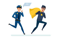 Criminal thief with money, runs away from police officer. Thief broke the law. Persecution of a criminal thief. Human rights activist in pursuit of the criminal royalty free illustration