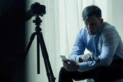 Criminal waiting for a ransom Stock Images