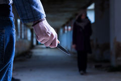 Criminal With Knife Stock Photography