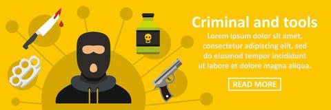 Criminal y concepto horizontal de la bandera de las herramientas libre illustration