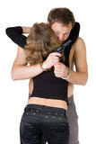 Criminal young man and woman royalty free stock images