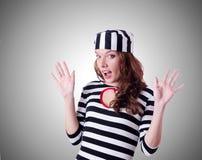 Criminale di condannato in uniforme a strisce Immagine Stock Libera da Diritti
