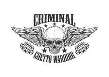 criminale Guerriero del ghetto Cranio con le ali e le articolazioni d'ottone Progetti l'elemento per il logo, l'etichetta, l'embl illustrazione vettoriale