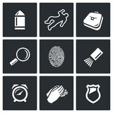 Criminalistics. Search criminal icons set. Vector Illustration. Stock Photography
