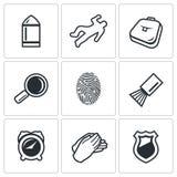 Criminalistics. Search criminal icons set. Vector Illustration. Stock Photo