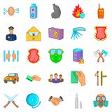 Criminality icons set, cartoon style. Criminality icons set. Cartoon set of 25 criminality vector icons for web isolated on white background Royalty Free Stock Photos