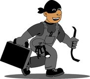 Criminals. Criminals in black masks with tools isolated Royalty Free Stock Photos