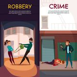 Criminals Banners Set. Criminal vertical banners set with robbery symbols flat isolated vector illustration Stock Photos