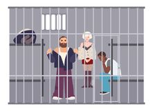 Criminals in cell at police station or jail. Prisoners locked up in room with metal grid. Offenders or arrested people Stock Photos