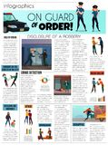 Criminals Infographic Set. With hostages and drugs symbols flat vector illustration Stock Photos